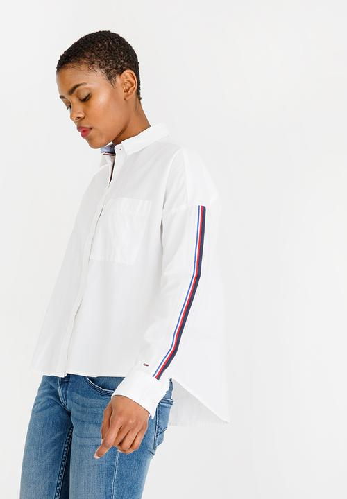 6161ad3cacdc Oversized Tape Detail Shirt White Tommy Hilfiger Shirts ...