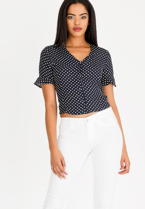 6dfb94df01b51f Gossip Spot Crop Top Navy   White Sissy Boy T-Shirts