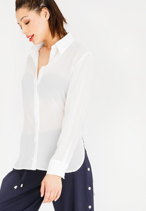 61ea065ac4a640 Sheer Shirt Off White STYLE REPUBLIC Shirts
