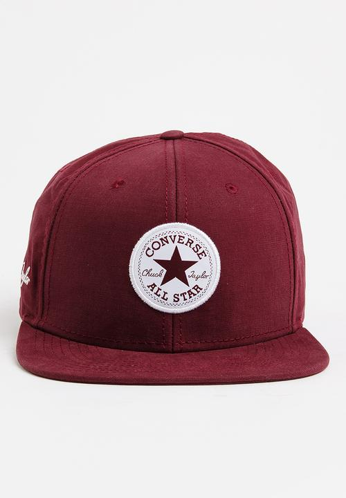7450d072f0e3 CT Patch Signature Snapback Cap Burgundy Converse Headwear ...