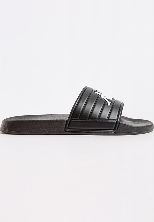 453d7025f1e6 Logo Matese Slider Sandal Black and White KAPPA Sandals   Flip Flops ...