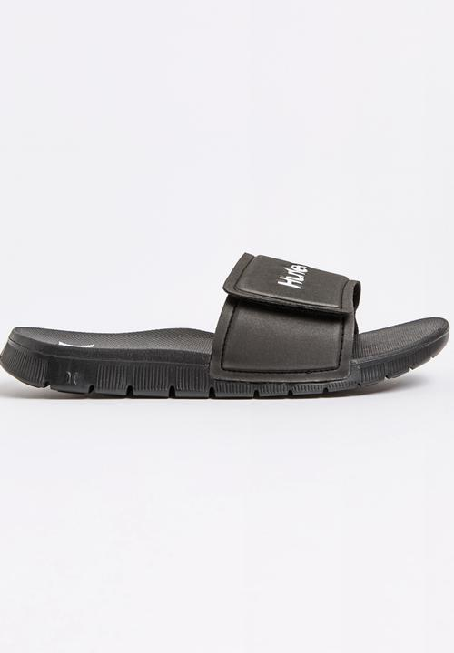 1d33acbf847f Fusion 2.0 Synthetic Slide Sandal Black Hurley Sandals   Flip Flops ...
