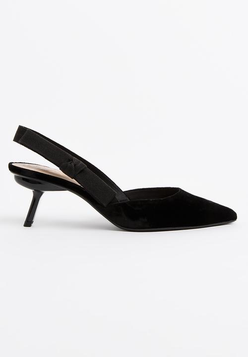 8a53cc9c285 Velvet Slingback Heels Black MANGO Heels