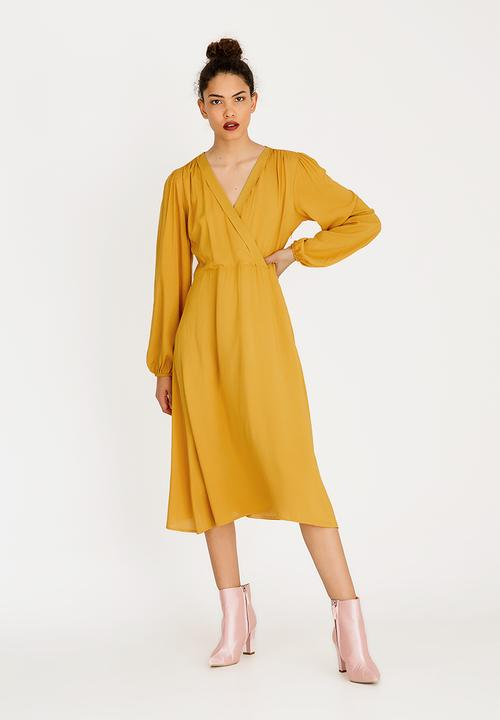 bf3f1c956ee3 Volume Sleeve Mock Wrap Dress Yellow STYLE REPUBLIC Formal ...