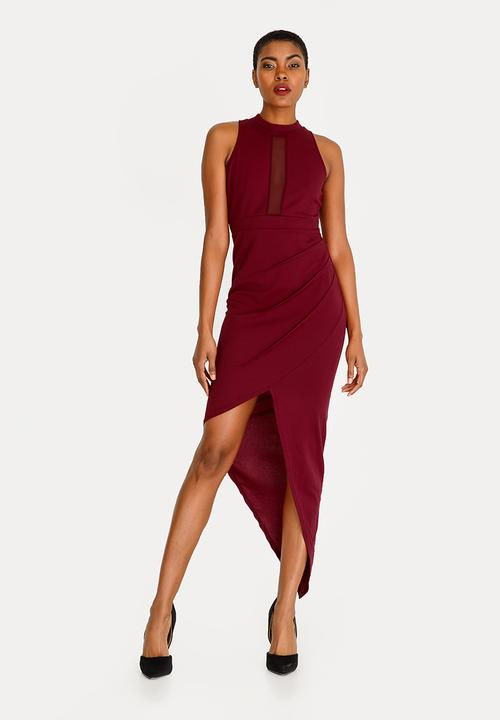 7fbf118da718 Asymmetrical Bodycon Dress Dark Red STYLE REPUBLIC Formal ...