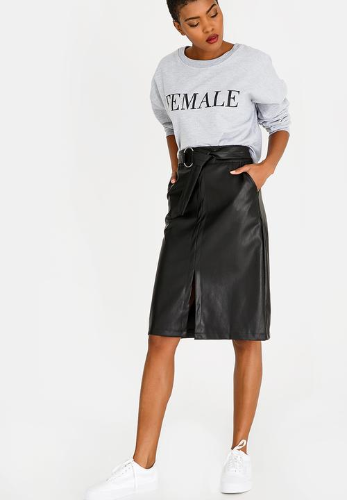 Belted Faux Leather Skirt Black STYLE REPUBLIC Skirts  d6692360e