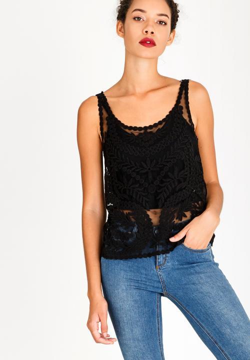Crochet Detail Top Black Style Republic T Shirts Vests Camis