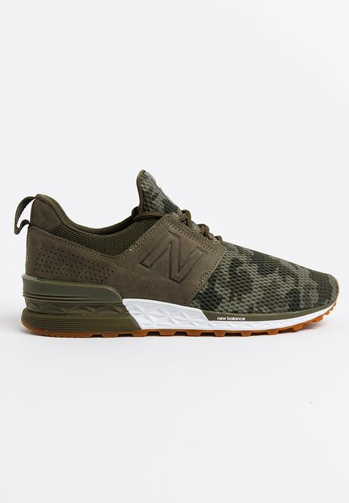 wholesale price stable quality info for 574 Sport Camo Pack Sneakers Khaki Green