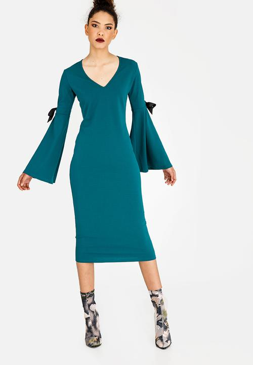 15638689e248 Bell Sleeve Bodycon Dress Turquoise STYLE REPUBLIC Formal ...