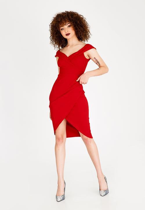 3a94ad68d7b Neptune Bardot Midi Dress Red Sissy Boy Casual