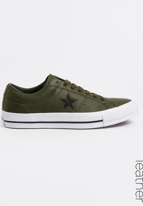 662ab2c12684 One Star Leather Sneakers Khaki Green Converse Sneakers ...