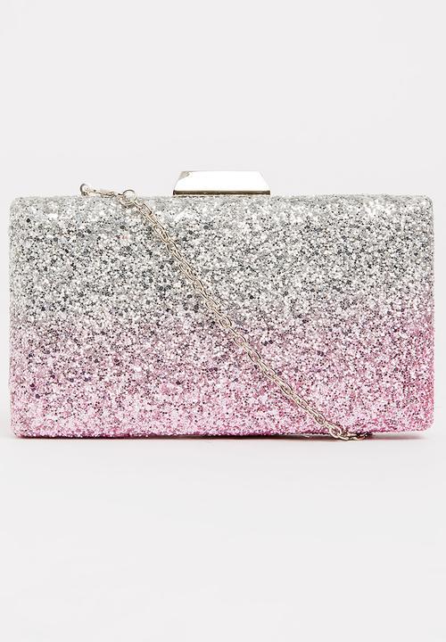 Miss Black Maxima Glitter Clutch Bag Pale Pink