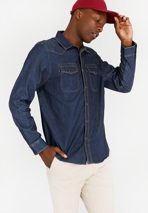 1f7189e6c56 Denim Shirt Dark Blue GUESS Shirts