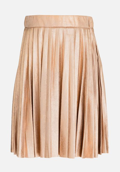 28e32c6e0 Pleated Suede Skirt with Crackled Metallic Print Rose MINOTI Dresses ...