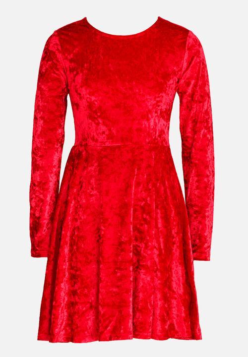 10787998b53 Crushed Velvet Skater Dress Red MINOTI Dresses   Skirts ...