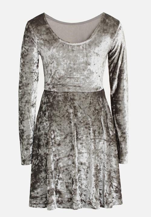 c4aebd895e Crushed Velvet Skater Dress Silver MINOTI Dresses & Skirts ...