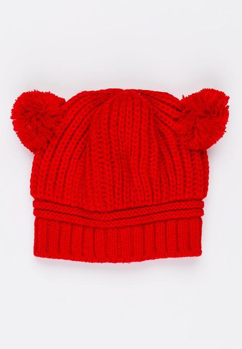 6b96fcf53c3 Girls Pom-Pom Beanie Dark Red POP CANDY Accessories
