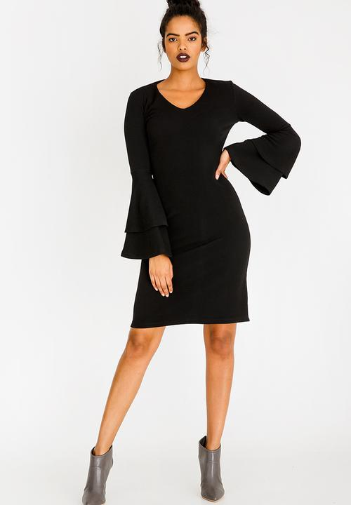 f3cc53f760 Semi Fitted Dress with Double Sleeve Black edit Formal