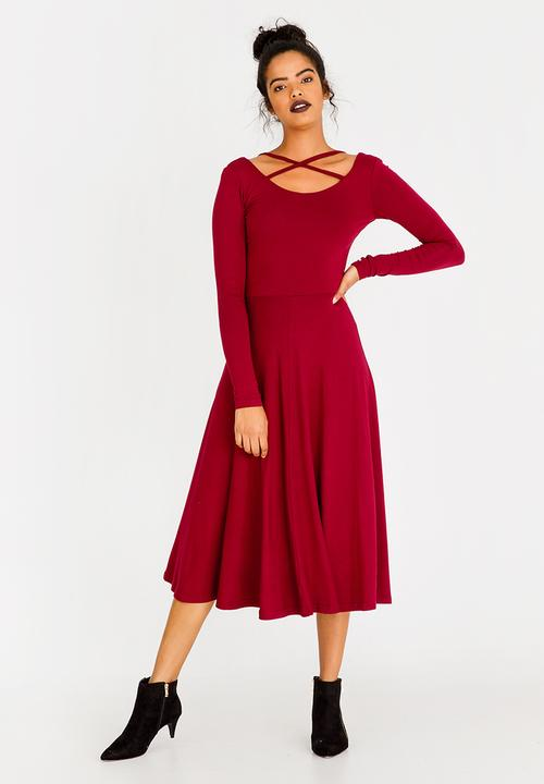 3f0f7f7ab9 Fit and Flare Dress with Neckline Detail Burgundy edit Casual ...