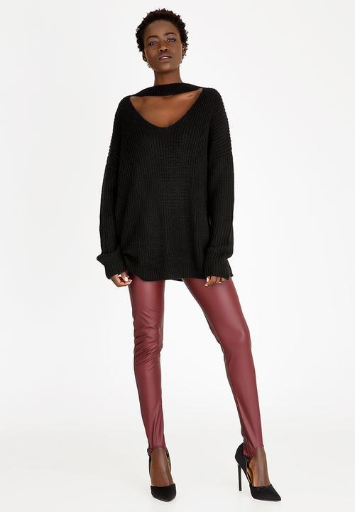 19879a62d9e748 Faux Leather Stirrup Legging Burgundy STYLE REPUBLIC Trousers ...