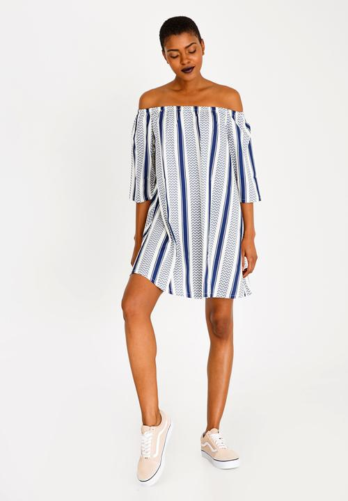 Off Shoulder Striped Dress Navy   White Rip Curl Casual ... d4a7b9842
