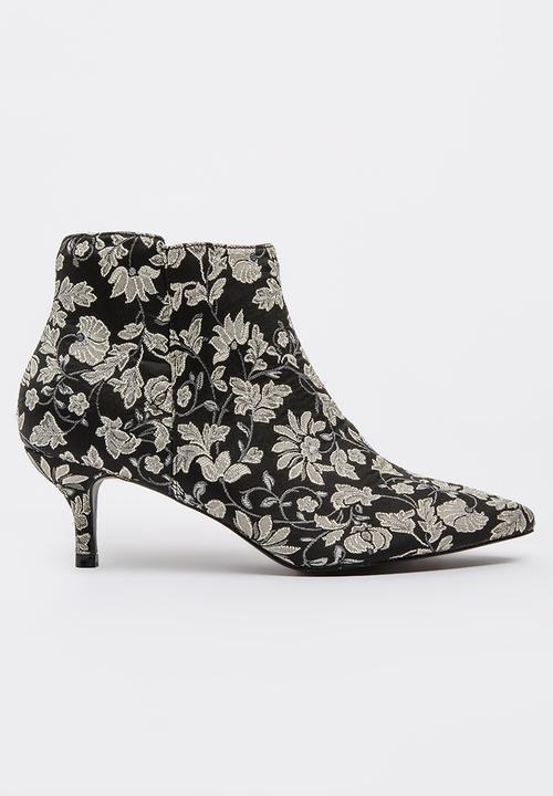 96d687f0f1 Floral Kitten Heel Booties Black Jada Boots   Superbalist.com