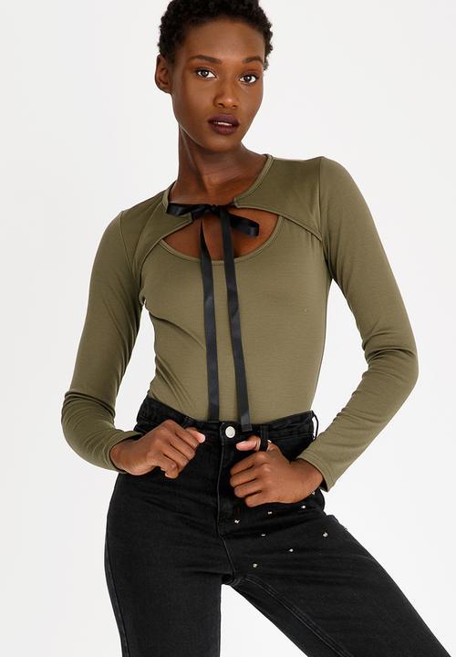 eaa5e3e4f Choker Neckline Bodysuit Dark Green c(inch) T-Shirts
