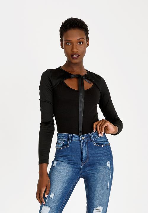 abbcd332 Choker Neckline Bodysuit Black c(inch) T-Shirts, Vests & Camis ...