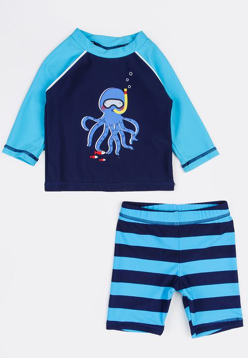 e88abce45 Infants boys octopus rash set - navy MINOTI Swimwear
