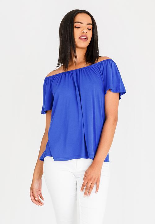 f52838bd9e2d6 Off-the-shoulder swing top - blue edit T-Shirts