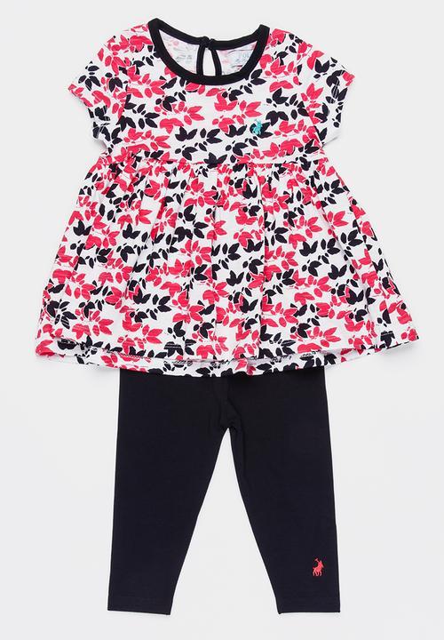 3d65fc01336bc Bella printed tunic & legging set - navy & pink POLO Sets ...