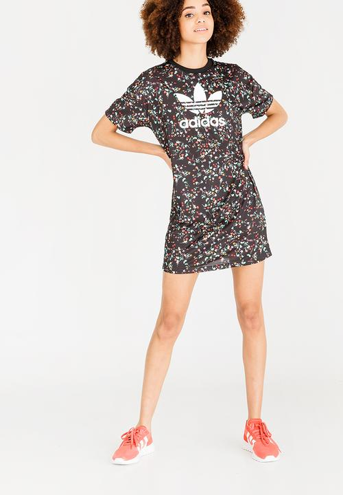 f13303a3 Floral Print Tee Dress Black adidas Originals Casual | Superbalist.com