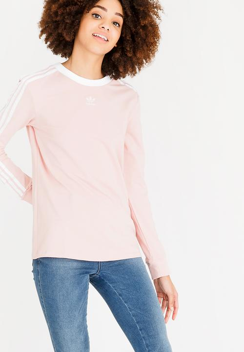 d8f22094f6c 3 Stripes long sleeve tee - pink spirit adidas Originals Hoodies ...
