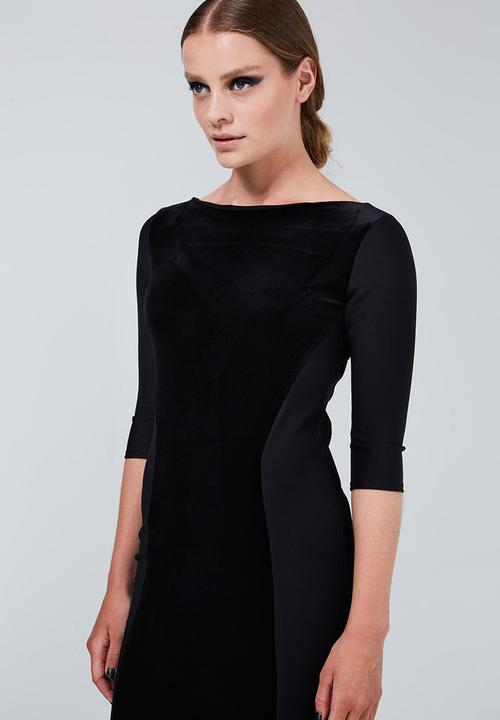 f72fe38964c8 Velvet Panel Dress Black ERRE Casual | Superbalist.com
