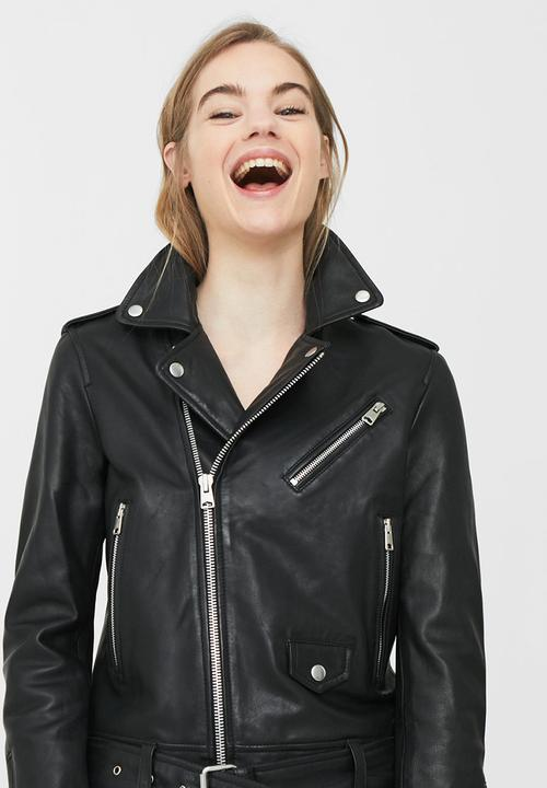 really cheap big collection super cute Leather Biker Jacket Black