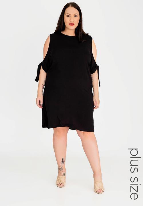 49f387c0d4a Cold Shoulder Shift Dress Black edit Plus Dresses