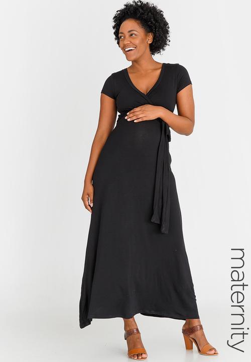 73789c69b9 Maxi Wrap Tie Dress Black edit Maternity Dresses   Jumpsuits ...