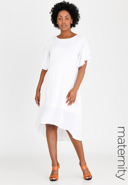 783b325bd0 Hi-Low Dress with Frill Sleeve White edit Maternity Dresses ...