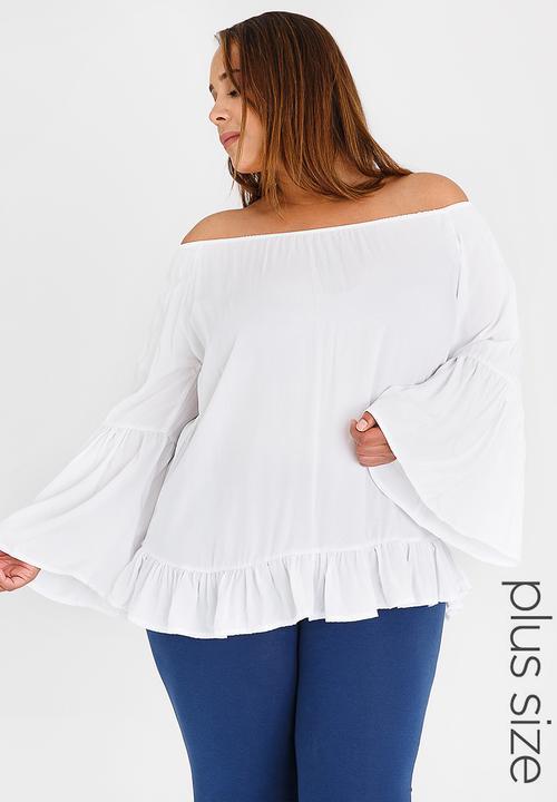 c0cf591811c85 Off the Shoulder Blouse White edit Plus Tops