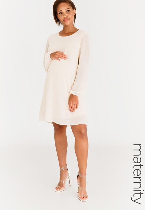 5cbcfad5512 Long Sleeve Maternity Dress Cream edit Maternity Dresses   Jumpsuits ...