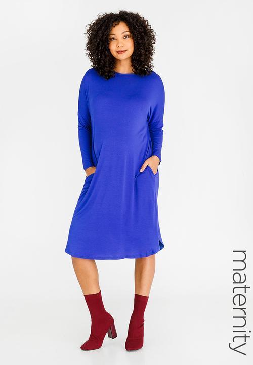 7c1f890a27 Long Sleeve Tshirt Dress Mid Blue edit Maternity Dresses   Jumpsuits ...
