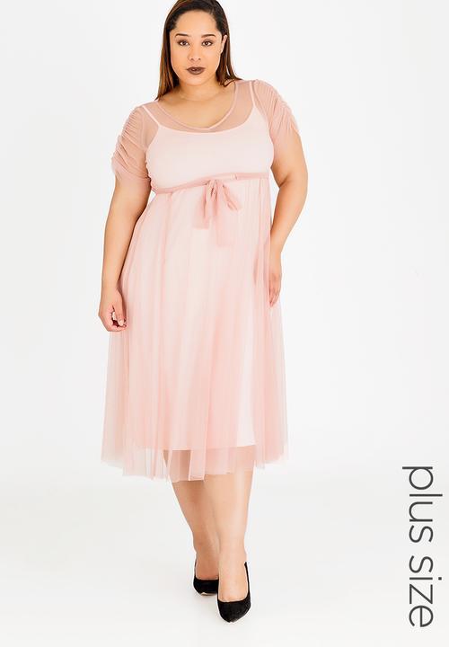 70a1b078ee0 Rosetta Mesh Overlay Dress Mid Pink AMANDA LAIRD CHERRY Dresses ...