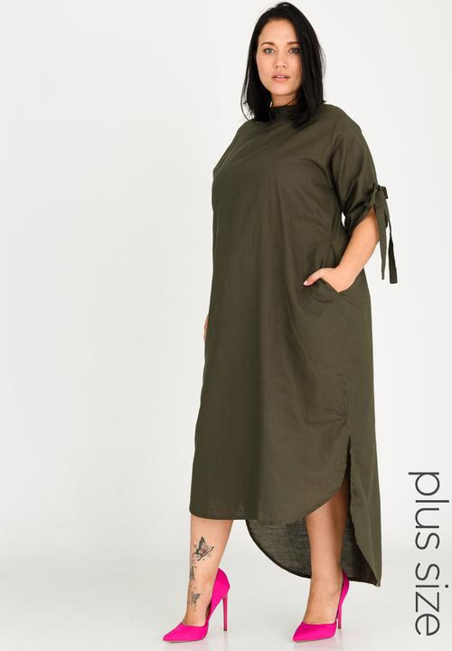 d5ad7525092 Kenetswe Linen Dress Khaki Green Plus-Fab Dresses