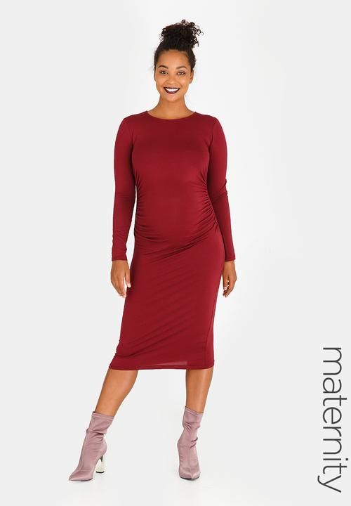 Side Gauge Tube Dress Dark Red edit Maternity Dresses   Jumpsuits ...