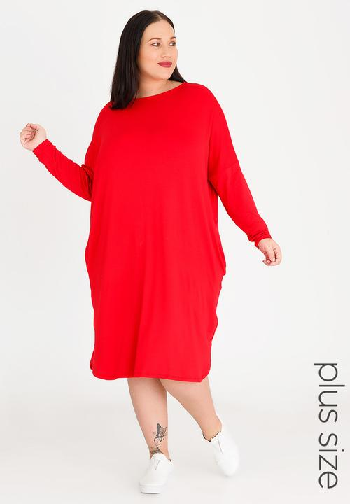 ed09f9b8e 3/4 Sleeve T-shirt Dress with Pockets Red STYLE REPUBLIC PLUS ...