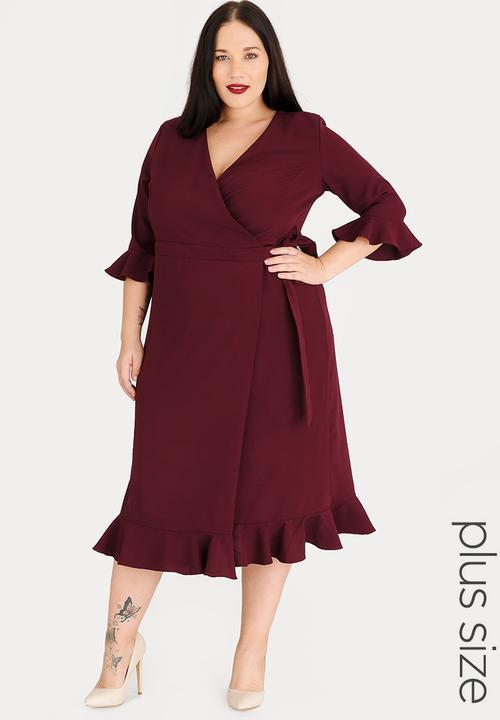 a883ce46d40 Wrap Dress with Ruffle Detail Hem Burgundy edit Plus Dresses ...