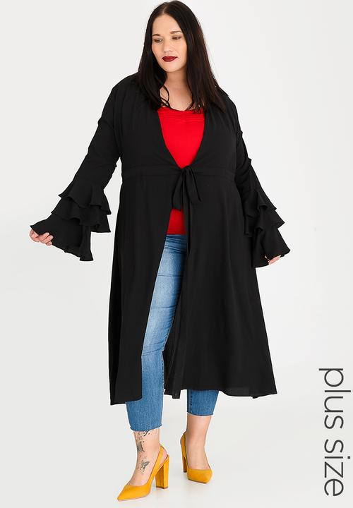 e2d01db34c Tiered sleeve maxi cover-up - black STYLE REPUBLIC PLUS Jackets ...