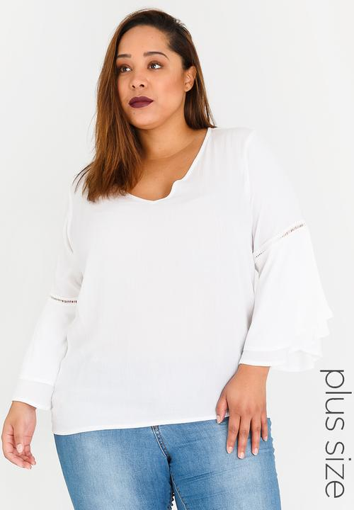 d825daa96df080 Bell Sleeve Blouse with Ladder Lace Detail White STYLE REPUBLIC PLUS ...