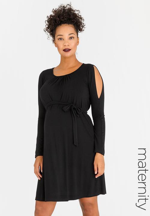 0297573f94116 Split Sleeve Maternity Dress Black edit Maternity Dresses ...