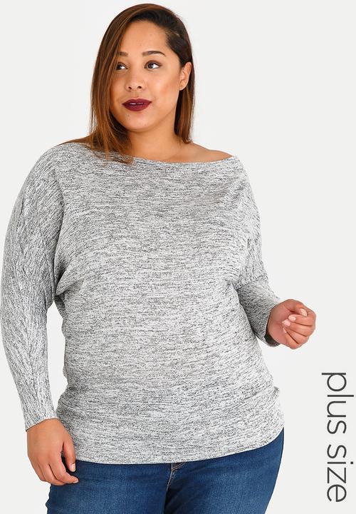 a2544201b0cbd Jersey Off the Shoulder Top Pale Grey edit Plus Tops